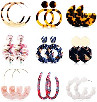 9-Pairs Joerica Acrylic Resin Drop Dangle Tortoise Mottled Earrings Set