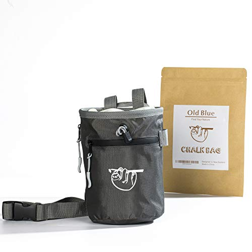 Chalk Bag for Rock Climbing, Climbing Chalk Bag for Bouldering with 2 Large Zipper Storage Pockets, Premium Gym Chalk Bag for Weightlifting, Great Gift and Rock Climbing Gear