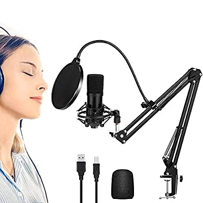 HALOVIE Gaming USB Microphone PC Condenser Microphones Computer Mic Kits with Shock Stand for Podcast Youtube Video Stream Studio Recording Voice Over