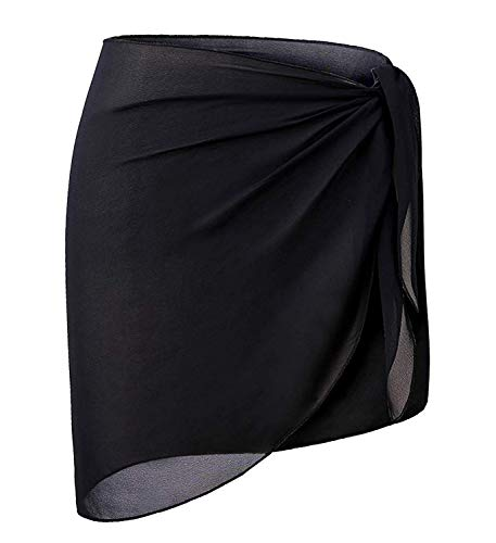 OmicGot Women's Sarong Wrap Beach Swimwear Short Cover up Pareo Swimsuit Black Short L-XL