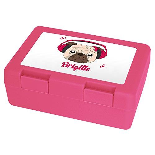 Brotdose mit Namen Brigitte und schönem Motiv - Mops mit Kopfhörer und Schleife für Mädchen | Brotbox rosa - Vesperdose - Vesperbox - Brotzeitdose mit Vornamen