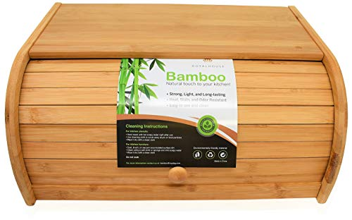 Natural Bamboo Roll Top Bread Box Kitchen Food Storage -...