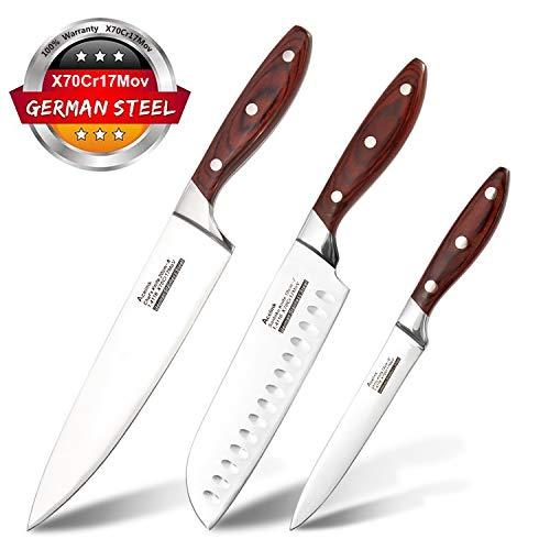 Acelink Profi Messerset 3-Teilig Scharf Küchenmesser Classic 3er Set, 20cm Kochmesser 18cm Santokumesser 12cm Allzweckmesser in Geschenkverpackung