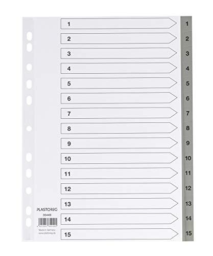 5er Set 15-teiliges Register/Trennblätter aus PP, DIN A4 mit Zahlen 1-15, volldeckend + praktischem Deckblatt aus stabilem Papier zum Beschriften. Trenn-Blätter für die Ordner-Organisation im Büro