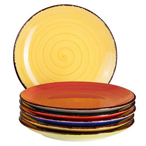 6-TLG. Teller-Set Malaga | Bunt | Kuchenteller Rund | Ø 19.5 cm | H 2.5 cm | Kleine Dessert-Teller | Steingut-Speiseteller | Handbemalt | Bicolor