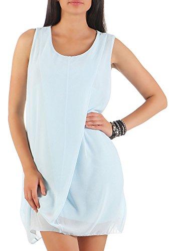 Malito Damen Sommerkleid kurz   Elegantes Kleid für den Strand   klassisches Freizeitkleid   Partykleid - Basic 6878 (hellblau)