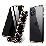 Privacy Magnetic Case Compatible with iPhone 12 PRO,Magnetic Adsorption Case Front and Back Tempered Glass Full Screen Coverage One-Piece Design Flip Cover (Anti Spy Clear Golden