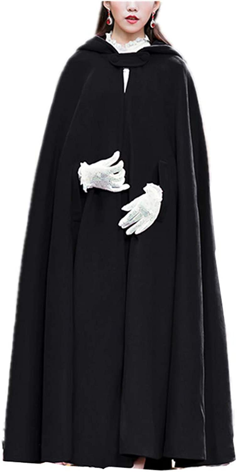 LYVV Red Cloak with Hoods Batwing Cape Woollen Poncho Jacket