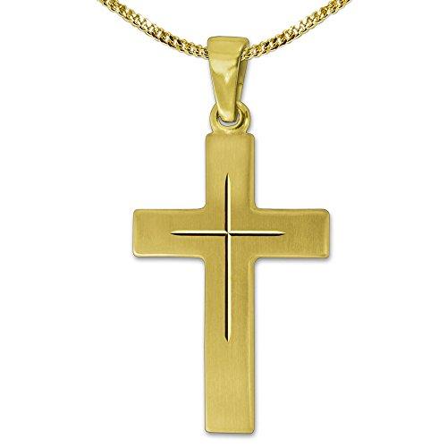 Clever Schmuck Set gouden hanger kruis 22 mm zijdemat met fijne binnenkruis gediamanteerd glanzend 333 goud 8 karaat en vergulde ketting 45 cm