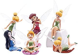 Redsa Tinkerbell Fairies Cake Topper Standing Fairy Figure Set Adorable Fairy Secret of The Wings & Friends Cake Cupcake Topper Garden Princess Landscaping Flowers Ornaments