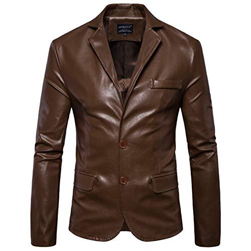 CNBPLS Chaqueta de cuero de la motocicleta del tamaño de los hombres,Solapa solo pecho chaqueta de cuero envejecido,Para hombres abrigo de ropa exterior