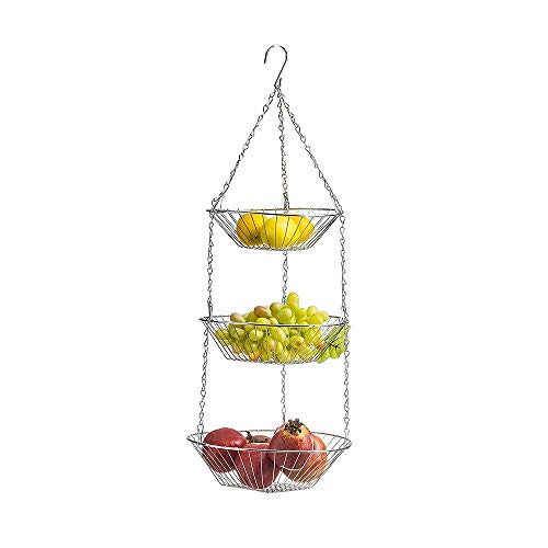 Kaptin cesta de alambre desmontable de 3 niveles para colgar frutas, para colgar en el techo de la cocina, cesta de frutas vegetales, estante y soporte