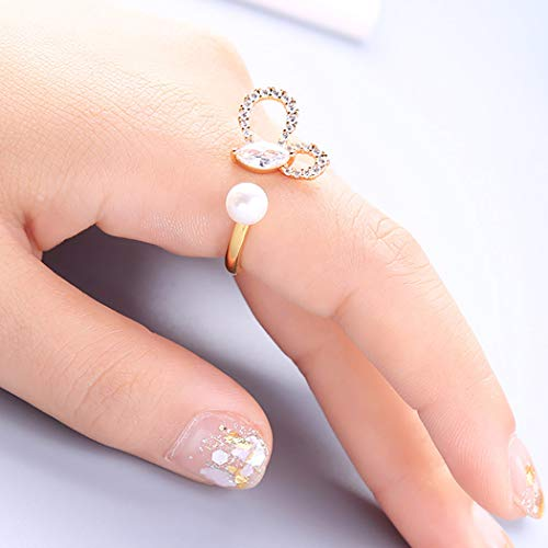 Anillo de compromiso Ushiny Fashion de cristal con perla de corazón y anillo de compromiso para mujeres y niñas (oro)