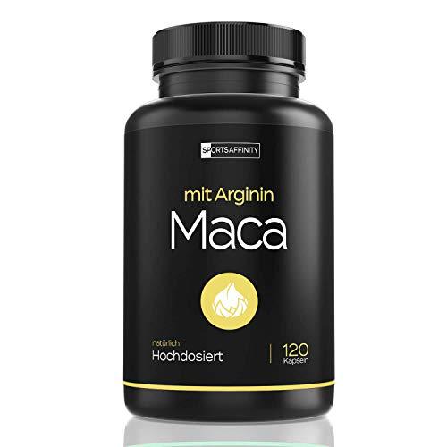 Premium Maca Wurzel Extrakt 1000mg mit L-Arginin 2400mg und 10mg Zink - Hochdosiert für aktive Männer & Frauen - 120 Kapseln