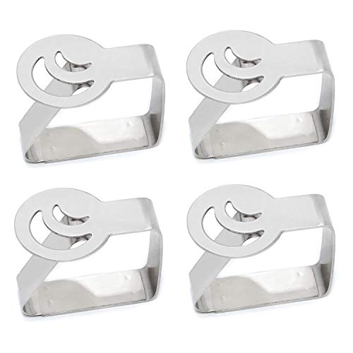 Honbay 4PCS Stainless Steel Silver Thickened Strong Cloth Clip ,Tablecloth Clamp Holder, Table Cover Clamps ,Table Cloth Holders, Table Cloth Clips Holders for Outdoor and Indoor (Moon)