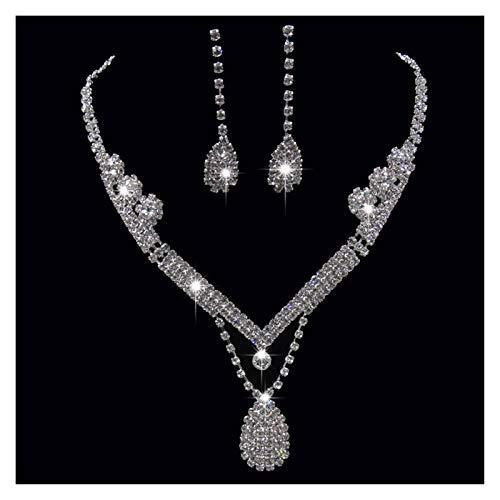ZCPCS Europa y los Estados Unidos Flash Diamond Gotas de Agua de la Novia Collar de la Novia Anillo de Oreja Juego de Joyas de la joyería de la Boda Accesorios Femeninos (Color : One Size)