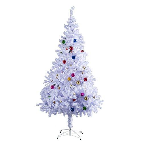 HOMCOM- Albero abete di Natale artificiale abete in pvc 150 cm / 180cm con supporto bianco foltissimo (180cm)