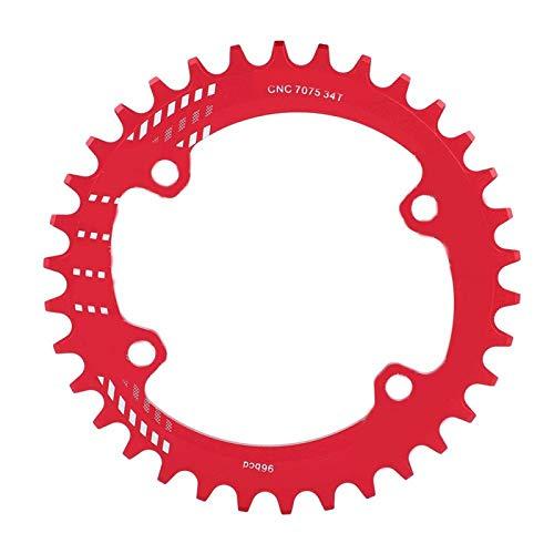SALUTUYA Plato de Bicicleta Anillo de Cadena de aleación de Aluminio Forma ergonómica CREA más tracción en estampida, para(Red, 34T)