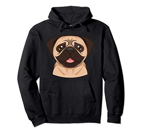 Pug Face Funny Dog Pug Design Pullover Hoodie