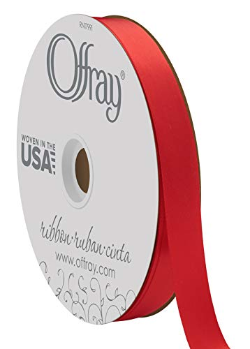 """Berwick Offray 7/8"""" Wide Double Face Satin Ribbon, Red, 100 Yards"""