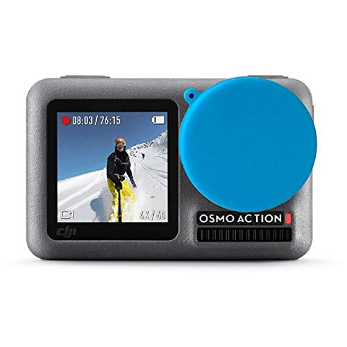 JIJIONG Copertura protettiva per obiettivo in silicone morbido per dji osmo action camera Accessori Rosso nero blu verde (colore : blu)