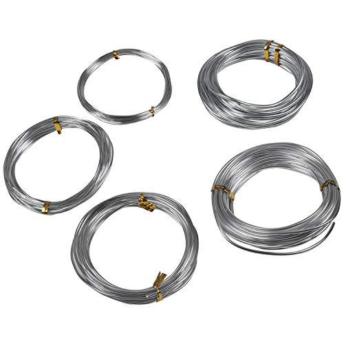 Filo Alluminio per Bigiotteria Argentato, 5 Misure (1, 1.5, 2, 2.5 e 3mm) 5 Metri di Lunghezza- Matassa Filo di Ferro Modellabile - Filo Metallico per Bigiotteria per Gioielleria, Bricolage ed Arte