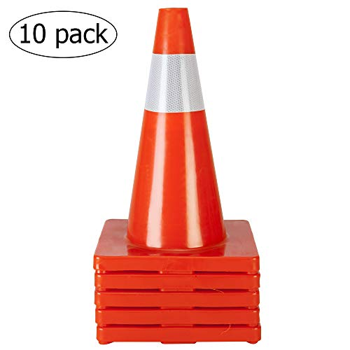 TUFFIOM 10Pcs Safety Traffic Cones, 18