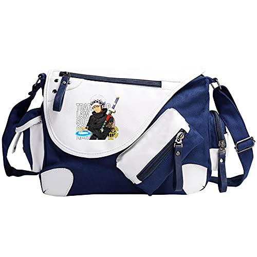 Anime One Piece Lona Bolso de Bandolera La Bolsa de Mensajero Bolsa de Lona Bolsa Messenger Bag Azul Bolsos Bandolera
