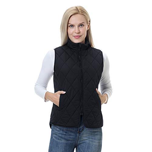 BEROY Damen Weste mit Stehkragen Ärmellos Steppweste Reißverschluss Winter Warm Jacke Ultraleicht Outdoor Schwarz L