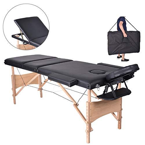 MC Star Table de Massage 3 Zones Bois Léger Pliante Lit de Massage Pliable Professionnelle Cosmetique Reiki avec Amovible Appui-tête Accoudoir Sac de Transport Noir
