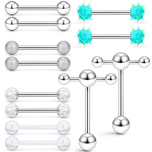 SCERRING 6 Pairs 14G Stainless Steel Soft Silicone Clear Acrylic Tongue Teaser Double Barbell with Slave Ring Nippleings Ring Body Piercing Jewelry