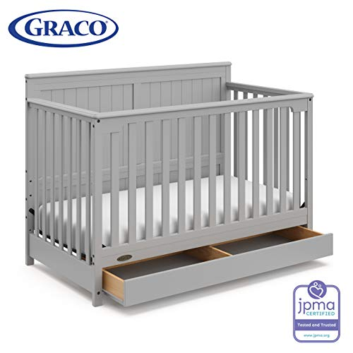 Graco Hadley 4-in-1 Convertible Crib with Drawer,Pebble Gray,Easily Converts to Toddler Bed Day Bed or Full Bed,Three Position Adjustable Height Mattress,Some Assembly Required (Mattress Not Included)