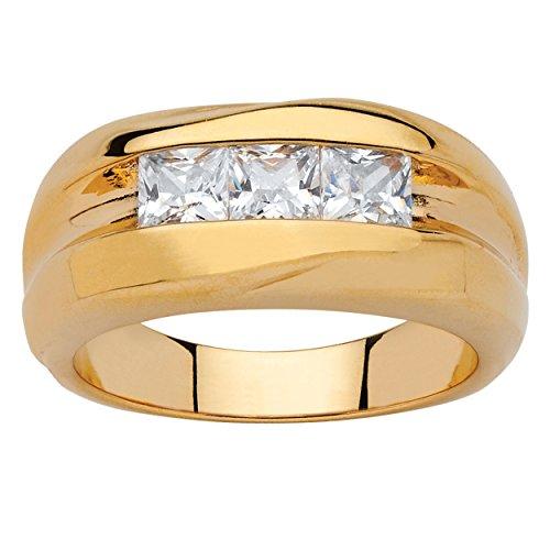 Hombres de corte cuadrado blanco circonitas cúbicas 18K chapados channel-Set acanalado anillo