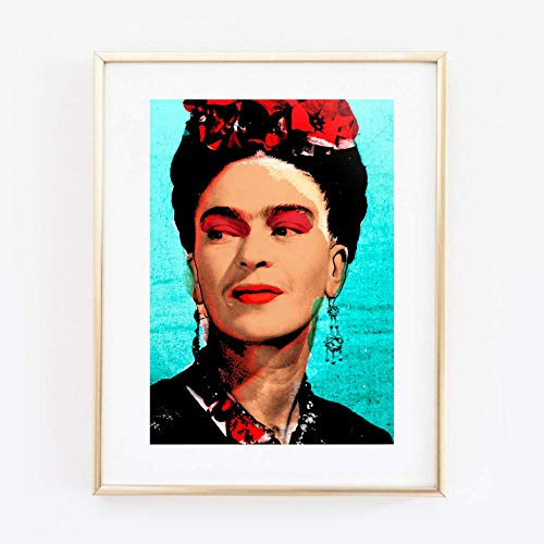 Din A4 Kunstdruck ungerahmt - Frida Kahlo Portrait Foto Fotokunst Künstlerin Ikone Pop Art Türkis Rot Geschenk Druck Poster Bild