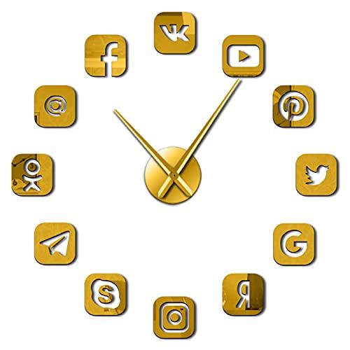 hufeng Reloj de Pared Símbolos de Redes sociales DIY Arte de Pared Reloj de Pared Oficina Dormitorio Decoración 3D Iconos sin Marco Reloj de Pared Regalos para Oro