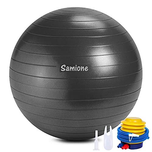 Samione Ballon de Gymnastique, Ballon Fitness Yoga Anti-éclatement Ultra-épaisse avec Pompe à air, 65cm Ballon de Fitness pour Yoga Pilates, Gym Sport