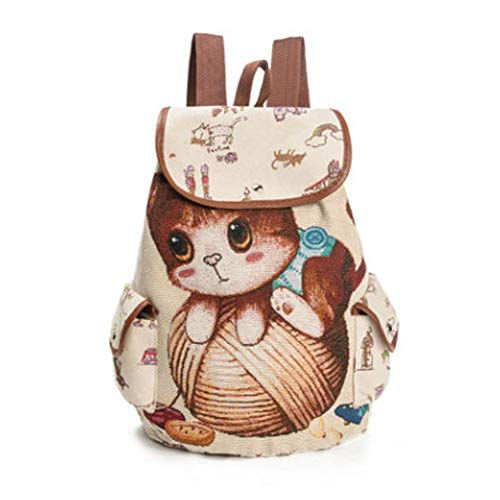 Bento Leisure Waterproof Sport Backpack Cute Bear Riding Capacity Backpack Cat Pattern Canvas Backpack Lightweight Backpacking,Natural,a3