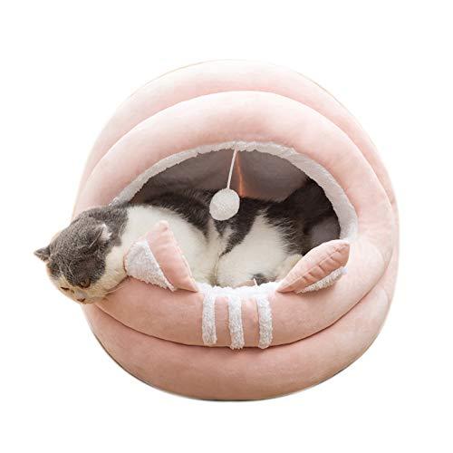 OMVOVSO Casa para gatos con forma de cavole para gatos, cama mullida y mullida para cuevas, cama de animales, gran acogedora y cálida para gatos, para mascotas, gatos, gatitos y cachorros, rosa, L