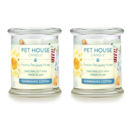 One Fur All 100% Natural Soy Wax Candle, 20 Fragrances - Pet Odor Eliminator, Up to 60 Hours Burn Time, Non-Toxic, Eco-Friendly (Pack of 2, Sunwashed Cotton)