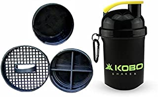 Kobo 2903 Shaker Bottle 400 Ml with 2 Compartment Ideal for PR Workout, BCAAs, Protein (Imported), 400 ml (Black)