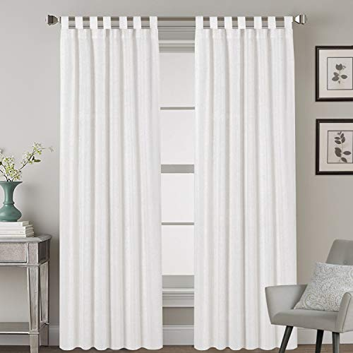 "Elegant Natural Linen Blended Energy Efficient Light Filtering Curtains / Tab Top Curtains Off White Window Treatments Panels / Drapes for Livingroom (Set of 2, 52"" x 96"")"