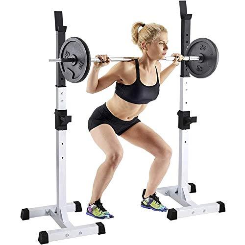 LXNQG Fitness Squat Barbell Rack Profesión, Robusto y Seguro Barbell Squat Rack Ajustable Peso Máximo de 300kg, Dominadas y Jaula Sentadillas Entrenamiento