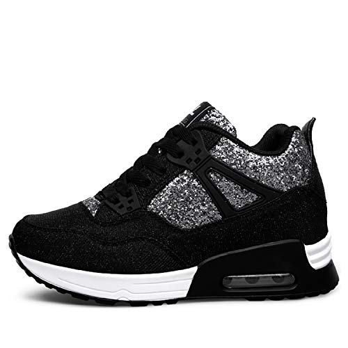 AONEGOLD Sneakers Zeppa Interna Donna Scarpe da Ginnastica Fitness Basse Tacco 7 cm(Nero,39 EU)