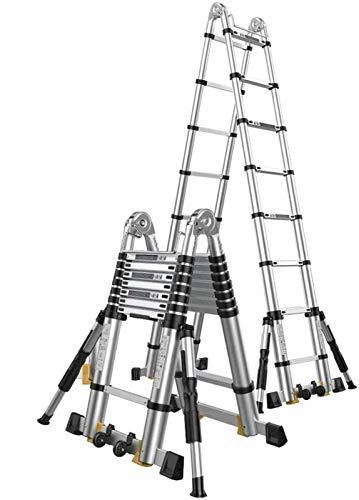 LYQQQQ Escalera plegable 2-6m Extensión escalera alta con ganchos y Antideslizante Mat profesional de aluminio telescópica Escala de la construcción al aire libre de carga 150 kg, 5,8 m / 19 pies (2,9