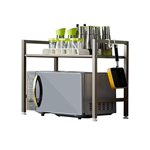 WY-YAN Cocina de almacenamiento en rack rack de microonda Función cocina Gabinete de almacenamiento de utensilios de cocina Multi de doble piso de almacenamiento en rack Stand Up (Color: gris, tamaño: