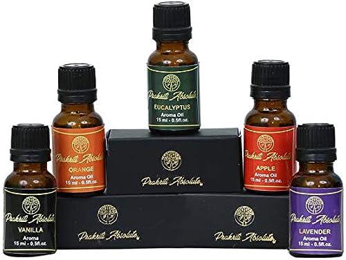 Prakriti Absolute Essential Oils Vanilla Oil Orange Oil Eucalyptus Oil Apple Oil Lavender Oil Pack of 5 essential oil for home fragrance 100 Real Natural Essential oil for hair and skinaroma oil for diffuser Fragrance oil
