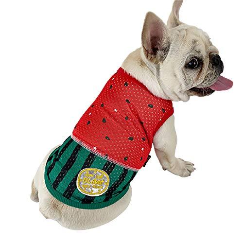 PP&DD 犬の冷感服 冷やすベスト6サイズ犬用コート 夏用ひんやり服 通気性 日焼き防ぐ 冷感犬服 暑さ対策 可愛いスイカ柄夏服 夏熱中症 犬用クールベスト スイカ模様ジャケット (L)