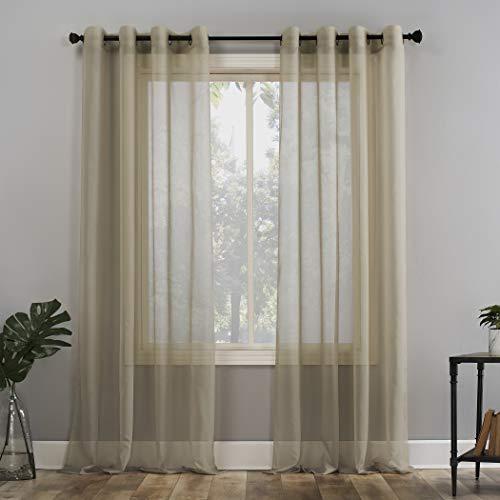 No. 918 Emily Voile Sheer Grommet Curtain Panel, 59u0022 x 63u0022, Stone