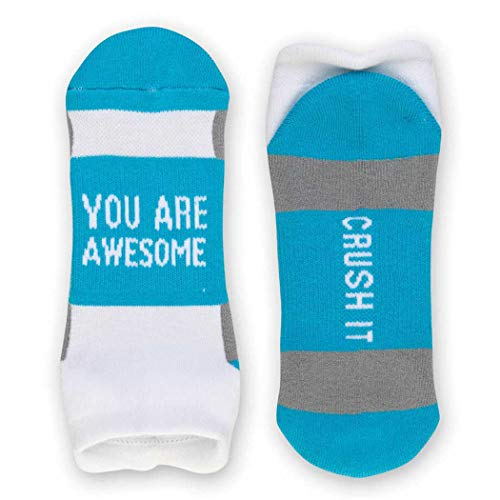 Inspirational Athletic Running Socks | Women's Woven Low Cut | You Are Awesome | Blue