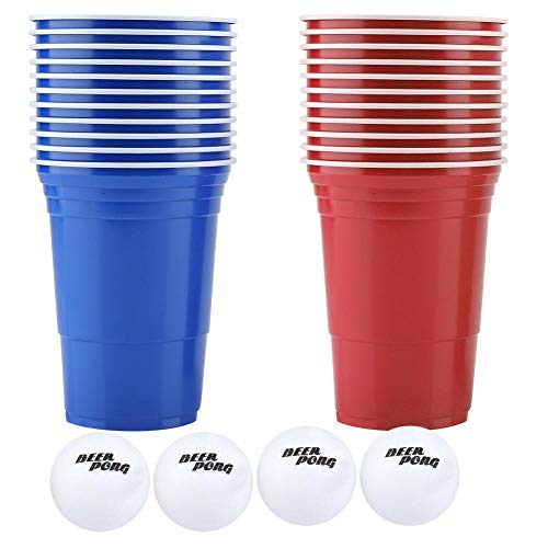 Hexcup Cerveza Pong Set, Cerveza Pong Juego de Beber Cerveza Pong Copas-22 Copas 4 Bolas de Ping Pong Bar Accesorios(copas rojas 11 + copas azules11 + 4 bolas)